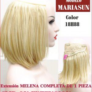 Extension de pelo mariasun.Extensión melena completa con sujección de 5 clips. 45 cm de largo, ondulada en las puntas, de fibra de colágeno resistente al calor.