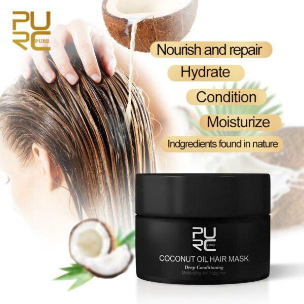 Mascarilla capilar de aceite de coco Purc. Es una mascarilla capilar natural, rica y cremosa diseñada para hidratar y fortalecer el cabello